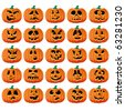 Set of 25 halloween pumpkins with Jack O`Lantern face, part 15, vector illustration - stock vector