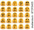 Set of 25 halloween pumpkins with Jack O`Lantern face, vector illustration - stock vector