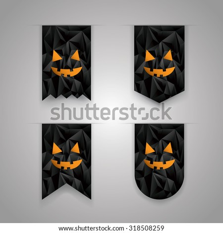 Set of Halloween ribbon elements. Holiday icons collection. Low poly black background. Eps10 vector illustration. - stock vector