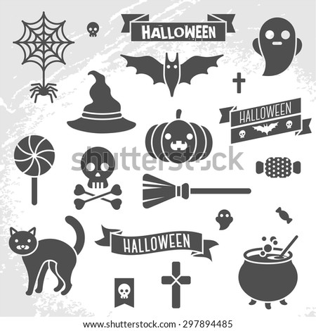 Set of Halloween ribbons and characters. Scrapbook elements. Vector illustration. Cat, bat, candy, spider, ghost, pumpkin, witch hat, skull, cross. Textured background. - stock vector