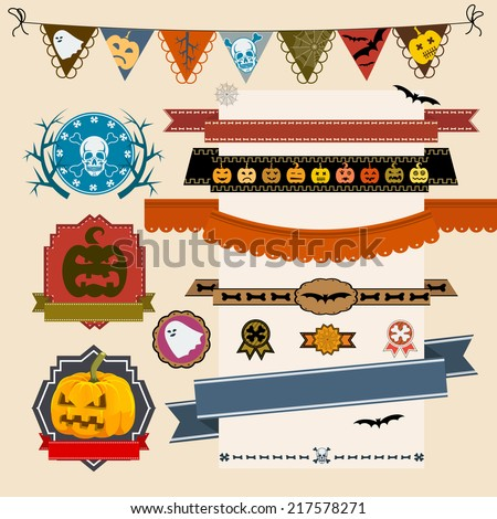 Set of Halloween ribbons and lables - stock vector