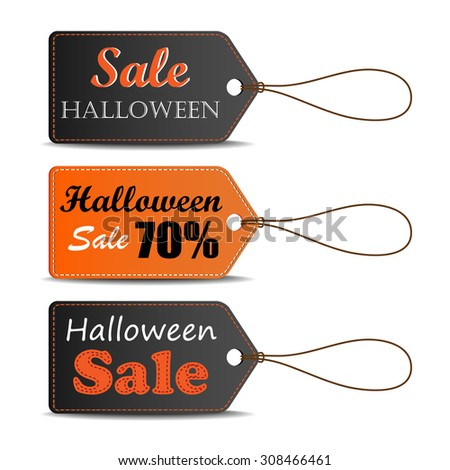 Set of Halloween sale tag, can use for your business or promotion. Vector illustration. - stock vector