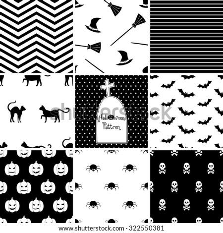 Set of Halloween seamless patterns - stock vector