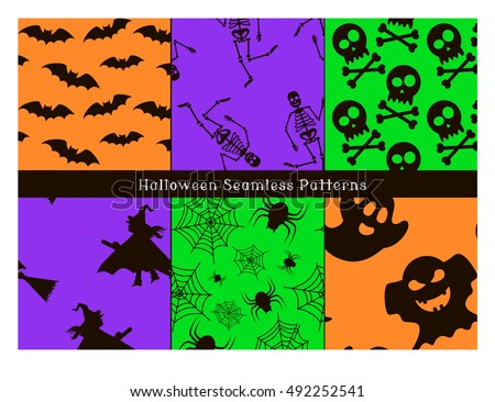 Set of Halloween Seamless Patterns. Black icons of bats, skeleton, skull, witch, spider, cobweb and ghosts. Vector illustration.