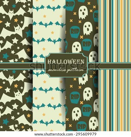 Set of Halloween seamless patterns. Childish background. Holiday design. Vector illustration. - stock vector