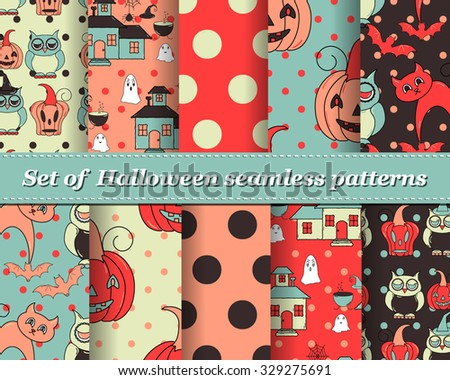 Set of Halloween seamless vector abstract pattern paper for scrapbook. Can be used for wallpaper, pattern fills, web page background, surface textures. Gorgeous abstract background