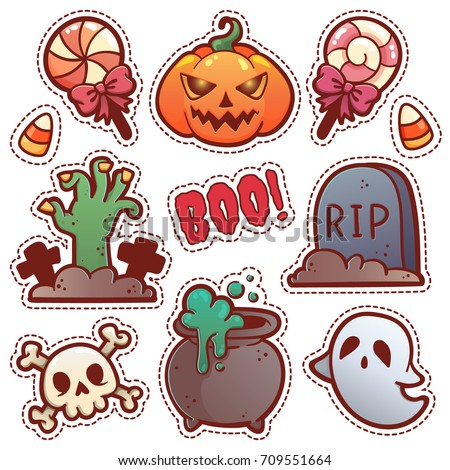 Set Halloween Stickers Stock Vector 709551664 - Shutterstock