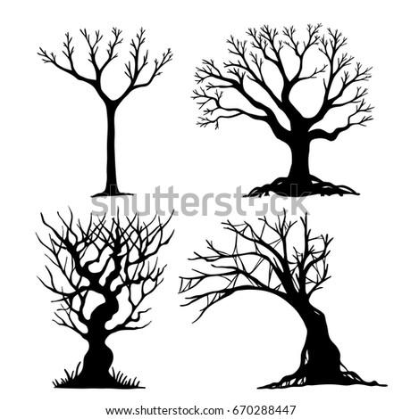 Set Halloween Tree Dead Branch Vectorhalloween Stock Vector ...