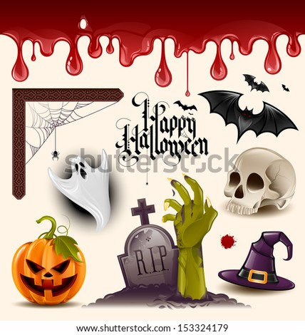 Set of halloween vector design elements - grouped and layered - stock vector