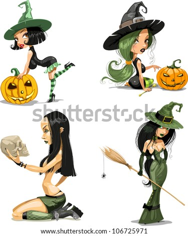 set of Halloween witches - stock vector