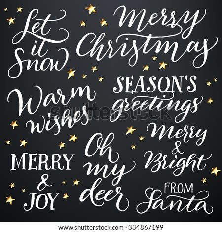 Set of hand calligraphic winter holidays quotes: Let it snow, Merry Christmas, Warm wishes, Season's greetings, Merry & Joy, Oh my deer, Merry & Bright, From Santa.  - stock vector