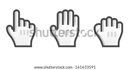 Set of Hand Cursors - stock vector