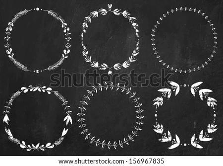Set of 6 hand-draw chalk vector victory laurel wreaths for stationary on a black chalkboard background - stock vector