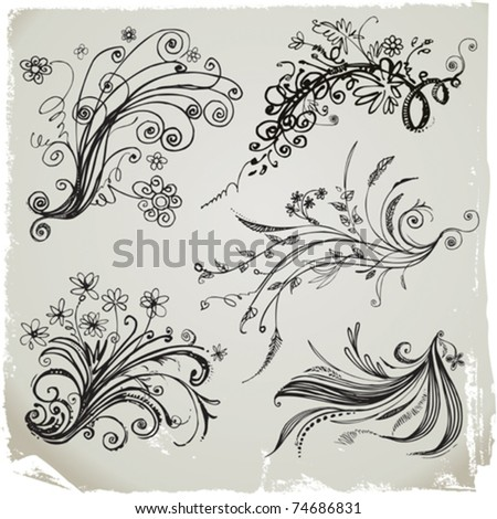 Set of hand draw floral elements. - stock vector