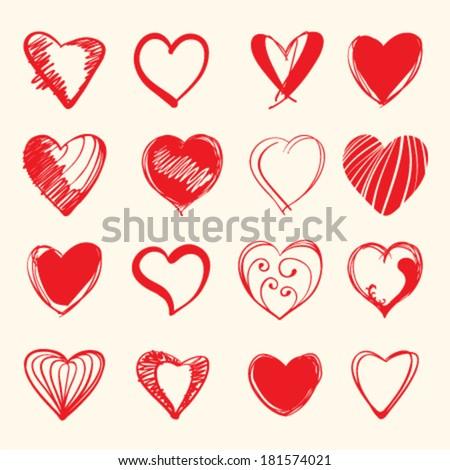 Set of hand draw hearts. vector illustration - stock vector
