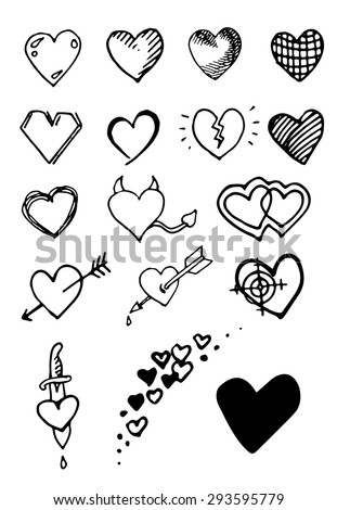 Set of hand draw hearts. Vector. White background. - stock vector