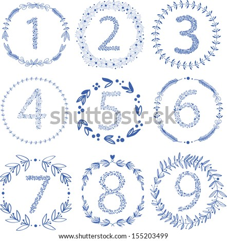 Set of 9 hand-draw vector victory laurel wreaths and floral numbers for wedding, stationary, branding or table number. Easy to change colors. - stock vector