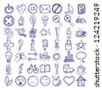 set of 49 hand draw web icon design elements - stock vector