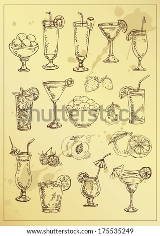 set of hand drawing alcohol coctails and fruit - stock vector