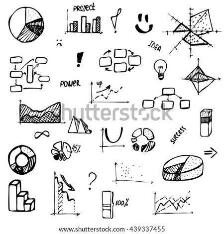 set hand drawing business diagram histogram stock vector. Black Bedroom Furniture Sets. Home Design Ideas
