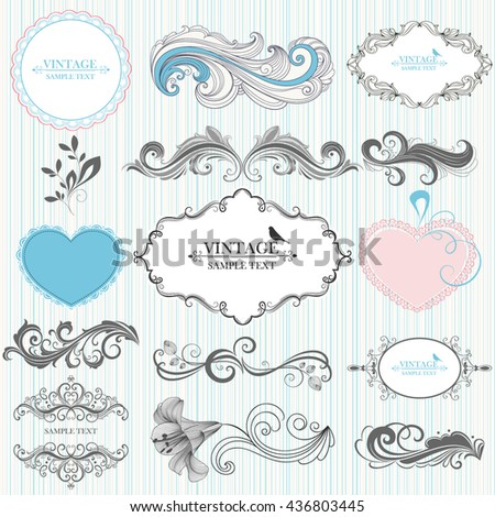 Set of hand-drawing calligraphic floral design elements. Vector illustration. - stock vector