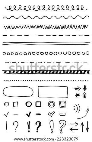Set of hand drawing elements for edit and select text. - stock vector