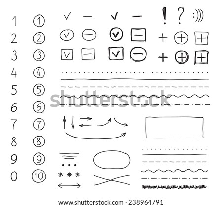 Set of hand drawing elements for mark, edit and select text. - stock vector