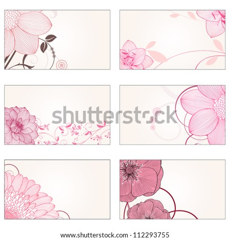 Set of hand-drawing floral frames with flower dahlia, gerbera, rose, amaryllis . Element for design. - stock vector
