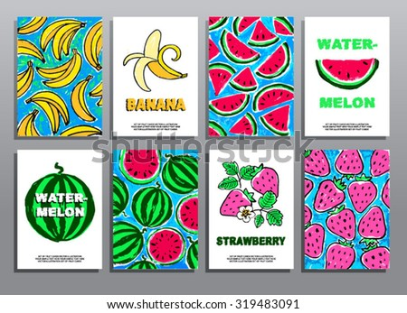 Set of hand drawing summer cards with fruits and berries. Organic food. Healthy lifestyle. Vector illustration.  - stock vector