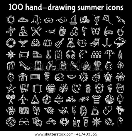 Set of 100 hand-drawing summer time icons for web and 