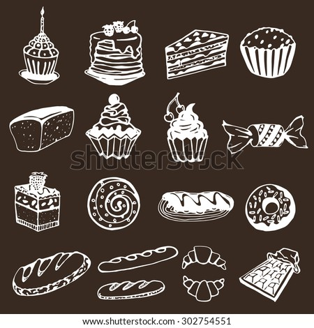 set of hand drawing sweets, vector sketches, bread, cheesecake, roll, pancakes, loaf, donut, candy, chocolate overwrapped on a brown background - stock vector