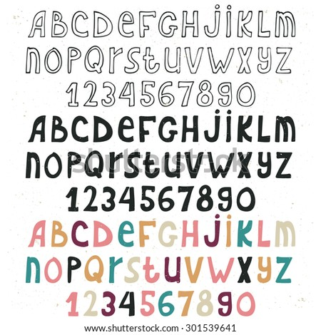 Set of hand drawn alphabet isolated on white background, doodle letters collections, three variations.ABC for your design. Easy to use and edit letters. - stock vector