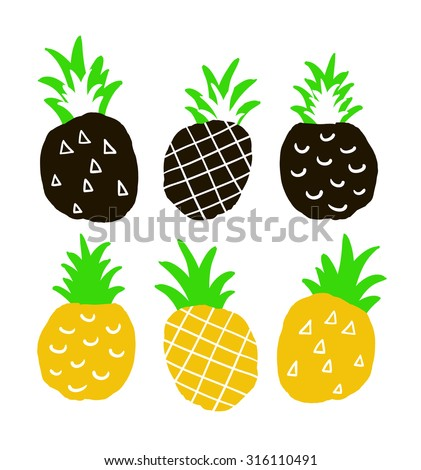 Set of hand drawn ananas. Isolated colorful pinepples on the white background. Coll print in vector. - stock vector