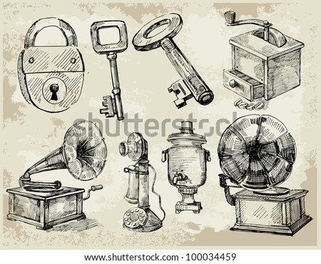 Set of Hand Drawn Antique things - stock vector