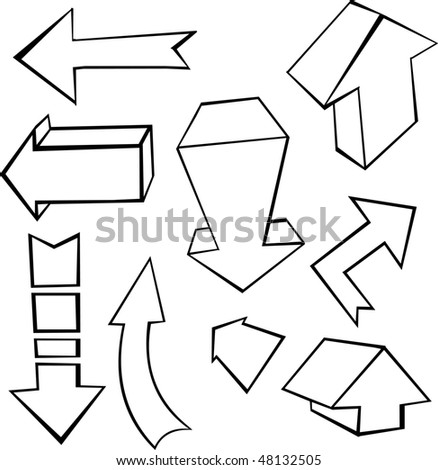 Set of hand drawn arrows - stock vector