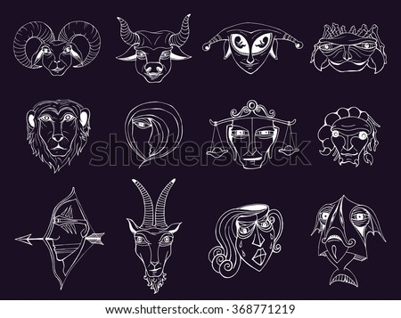 Set of hand drawn astrological zodiac symbols, horoscope signs. Lion and cancer, fish and pisces, scorpio and aquarius, aries and virgo and gemini. Doodle vector illustration in cartoon fantasy style