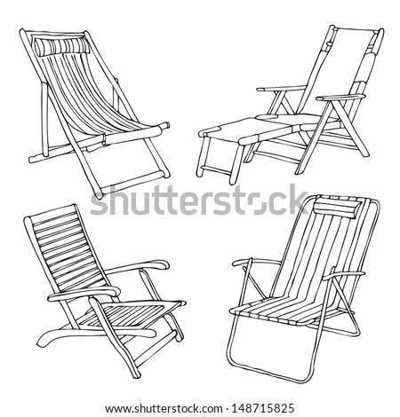 Set of hand drawn beach chairs - stock vector