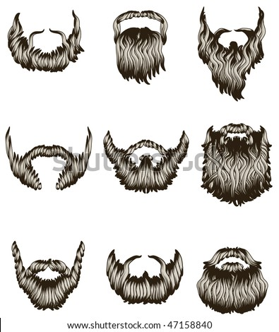 Set of hand drawn beards - stock vector