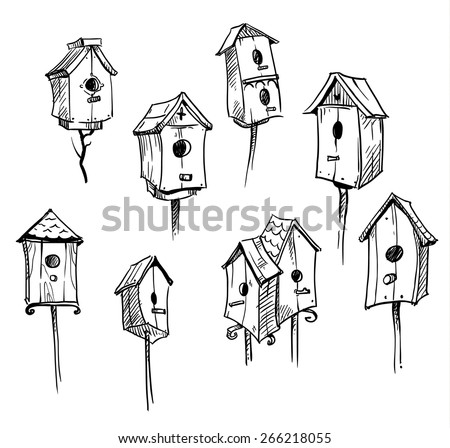 Set of hand drawn bird houses  - stock vector