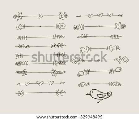 Set of Hand Drawn Black Doodle Design Elements. Decorative Floral Dividers, Arrows, Swirls, Scrolls. Vintage Vector Illustration. - stock vector