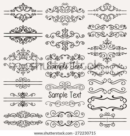 Set of Hand Drawn Black Doodle Design Elements. Decorative Floral Dividers, Borders, Swirls, Scrolls, Text Frames. Vintage Vector Illustration. - stock vector