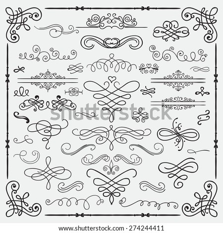 Set of Hand Drawn Black Doodle Design Elements. Decorative Swirls, Scrolls, Text Frames, Dividers. Vintage Vector Illustration. - stock vector