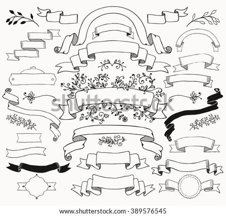 Set of Hand Drawn Black Doodle Ribbons and Banners. Sketched Rustic Decorative Floral Design Elements. Vintage Vector Illustration. - stock vector