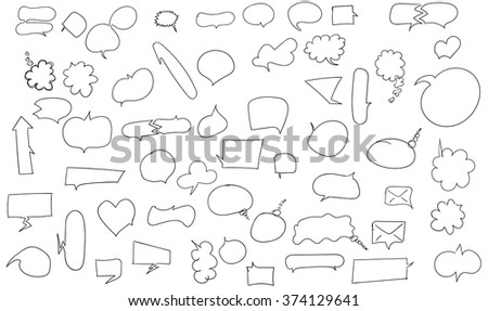Set of hand drawn bubble speech. Isolated on white background. Vector chat message elements. Black and white conversation elements.  - stock vector