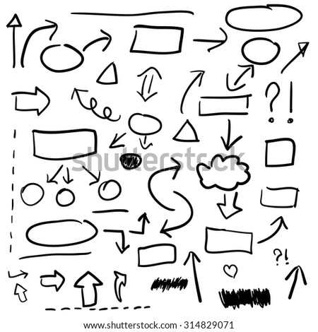 Set of hand drawn business elements, vector illustration - stock vector