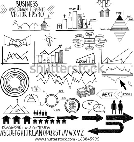 set of hand drawn business finance elements vector illustration. Concept - bank, stats, economy, money - stock vector