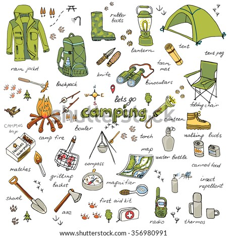 Set Of Hand Drawn Camping Equipment Symbols And Icons Hiking Mountain Climbing