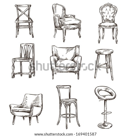 Set hand drawn chairs interior detail stock vector for Chair design drawing
