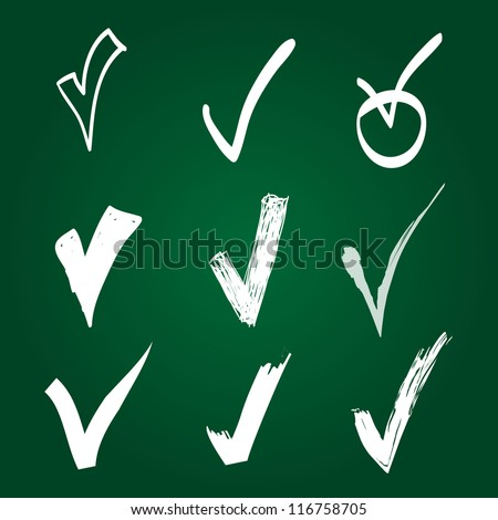 Set of Hand-drawn check - stock vector
