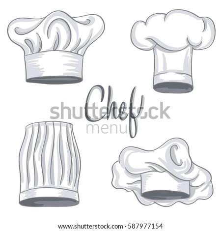 set hand drawn chef hat on vectores en stock 587977154